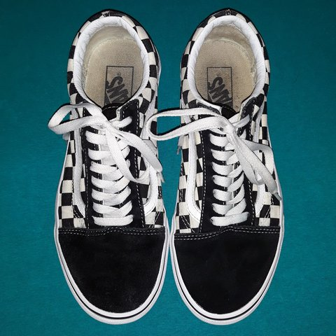 Black White Checkered Print Low Top Vans Sneakers Size 9 So Depop