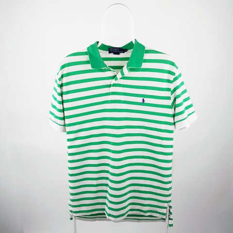 a310566b @vinsportage. 9 hours ago. Manchester, GB. Vintage Ralph Lauren striped  polo shirt. Green and white with a purple embroidered pony. Size medium ...