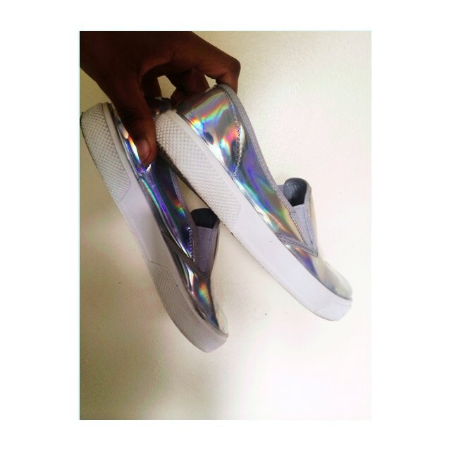 holographic silver c 233 line inspired slip on keyah