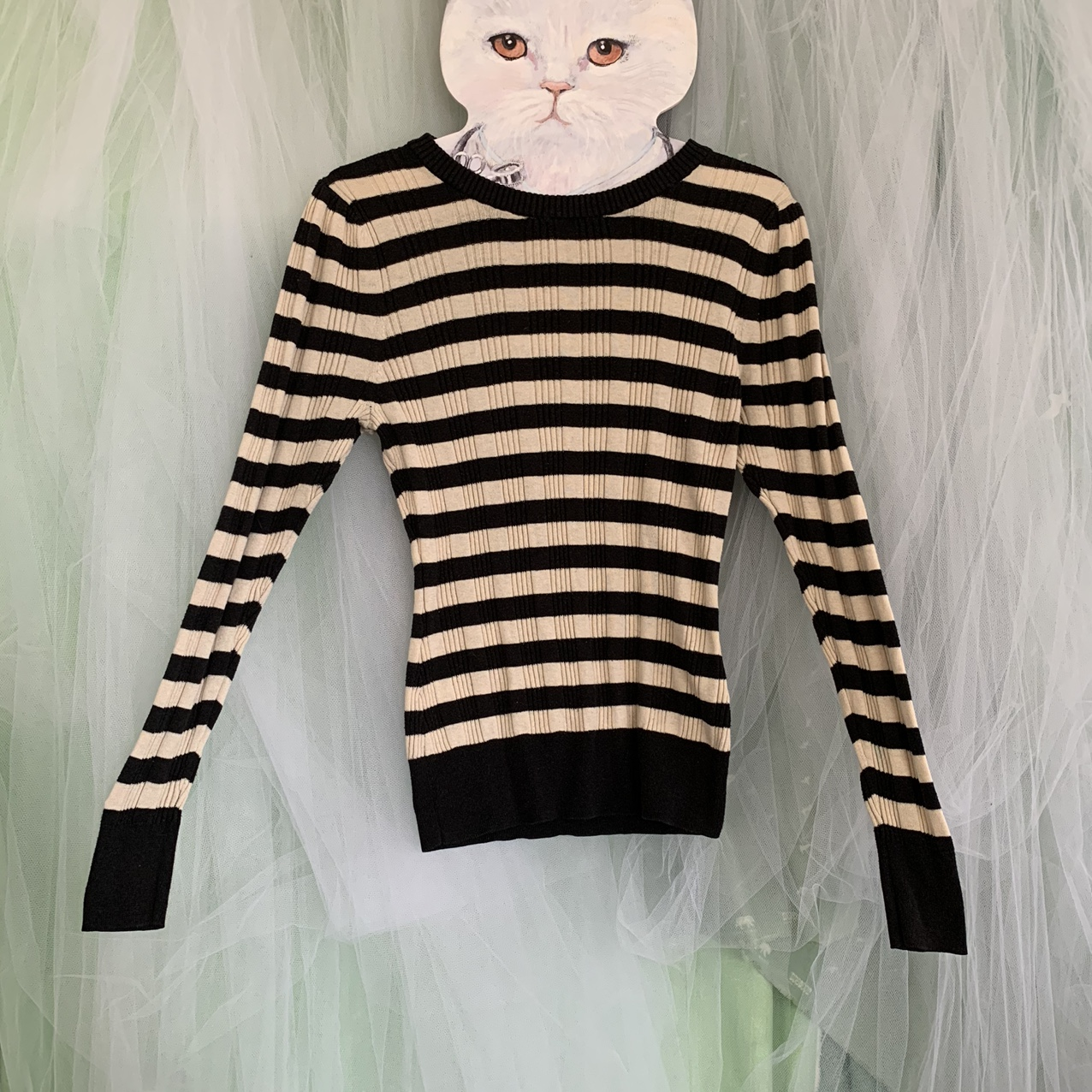 Product Image 1 - Black and cream striped knit