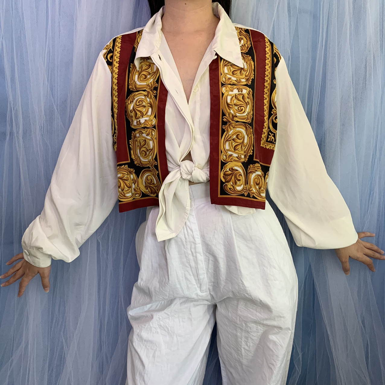 Product Image 1 - Vintage 80s scarf layered blouse.