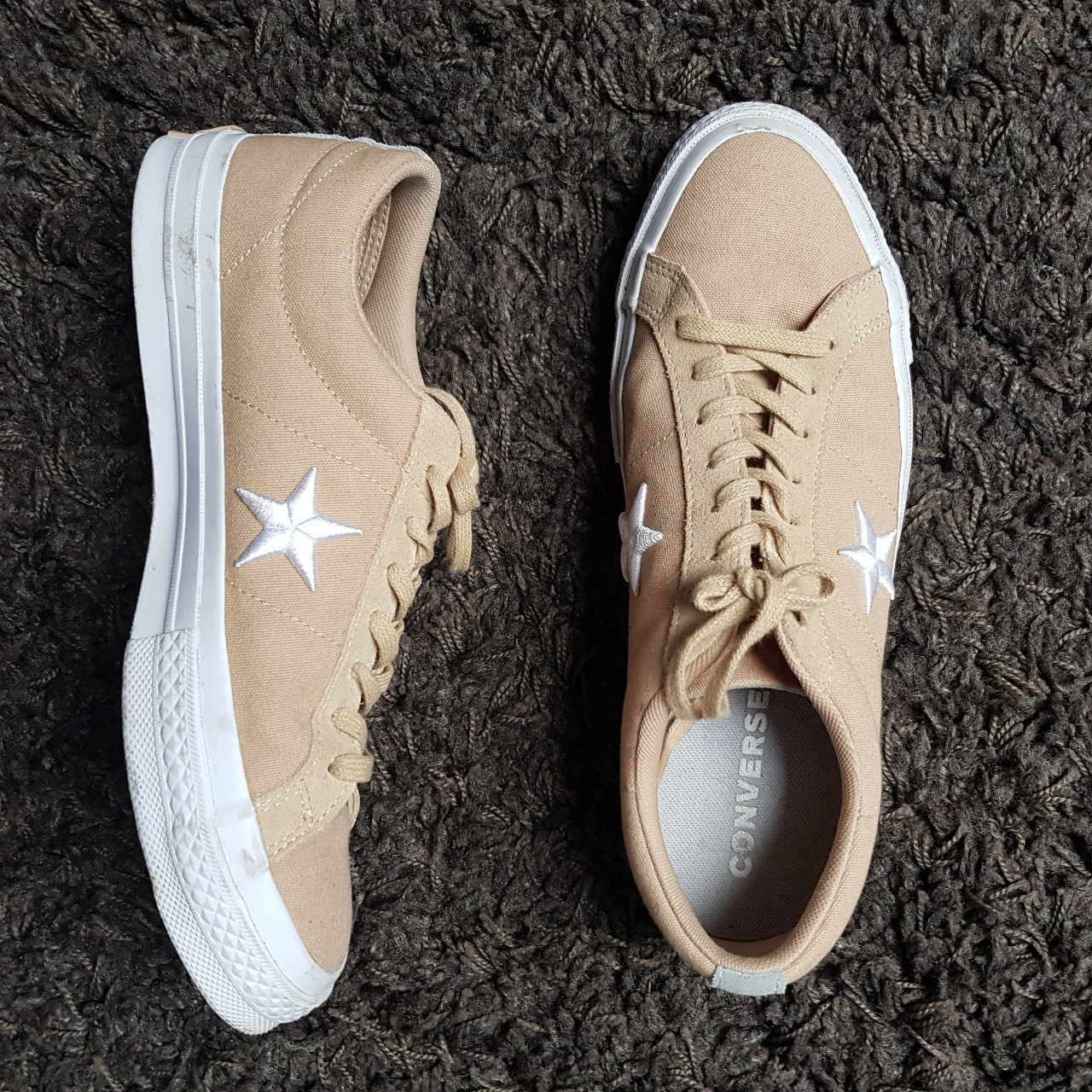 Converse One Star Beige Tanned Canvas. Size: UK... - Depop