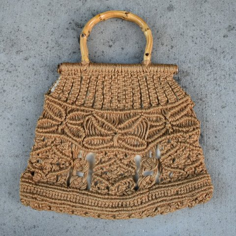 bc0c77efbf1a4 Vintage 70s straw crochet bamboo bag Here is the original a - Depop