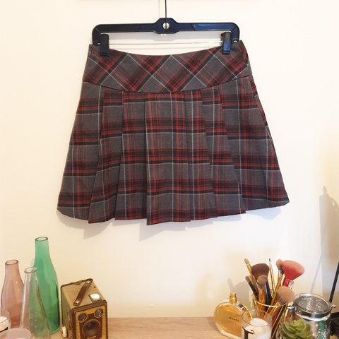 7759b3e31d92 @tatumlea92. 8 days ago. Manchester, GB. Red and grey tartan check plaid  pleated mini skirt.