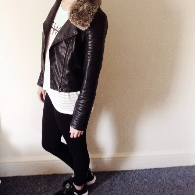 Topshop Petite size 12 leather jacket. Faux leather. Brought for бё60