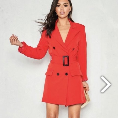 a7d788b5ac728 Missy empire red belted blazer dress Perfect condition Size - Depop