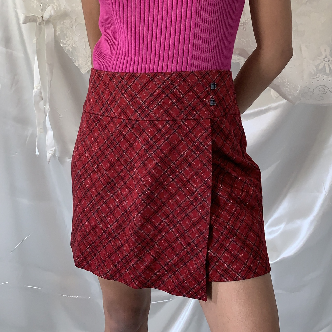 Product Image 1 - Red/pink plaid sparkly mini skirt