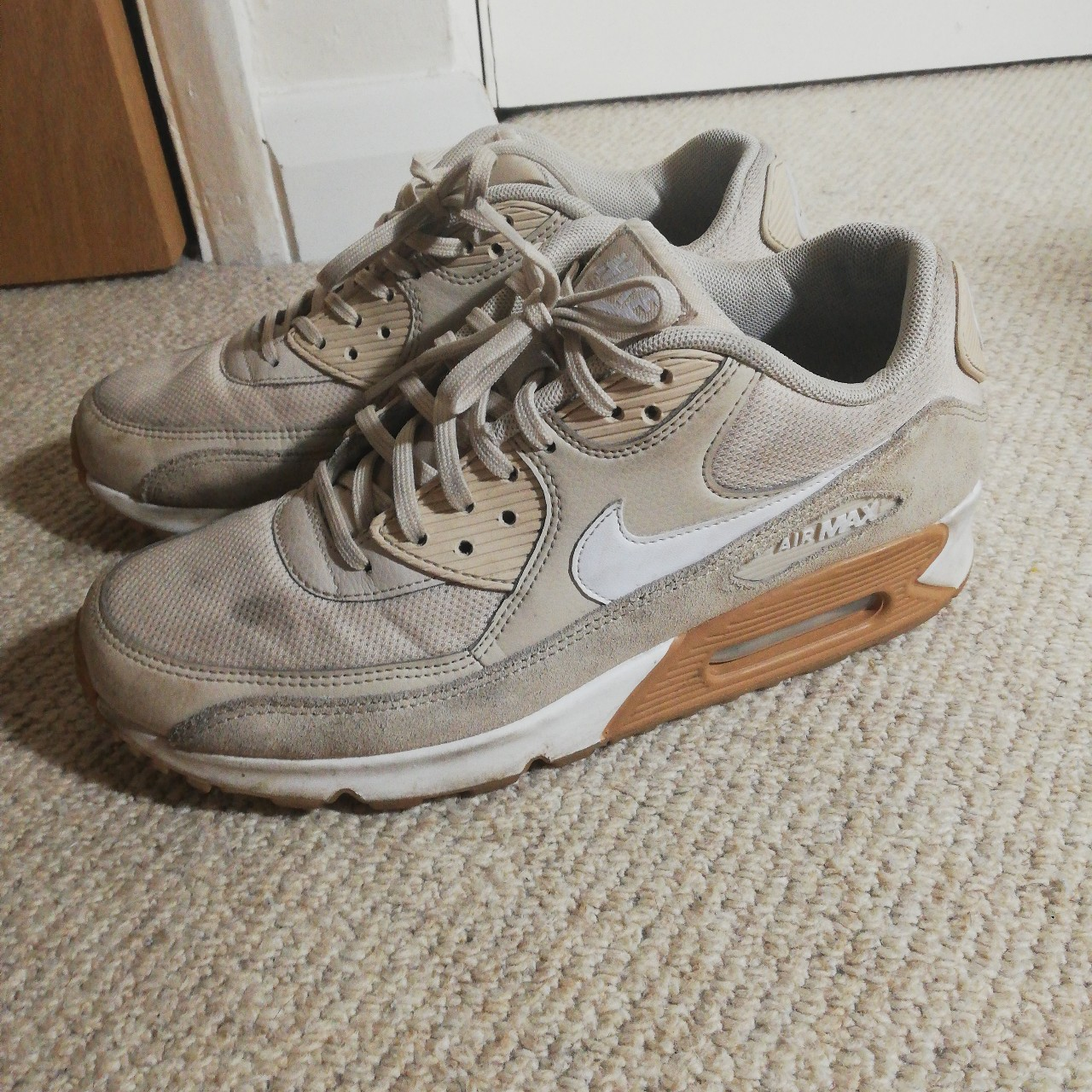 Nike air max 90 Suede leather grey tan white... - Depop