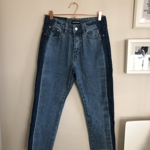 632eccede346 Blue colour panel straight leg jeans size 8 never worn new - Depop
