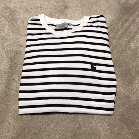 5c359104a3 Carhartt black and white striped long sleeve tee in size but - Depop