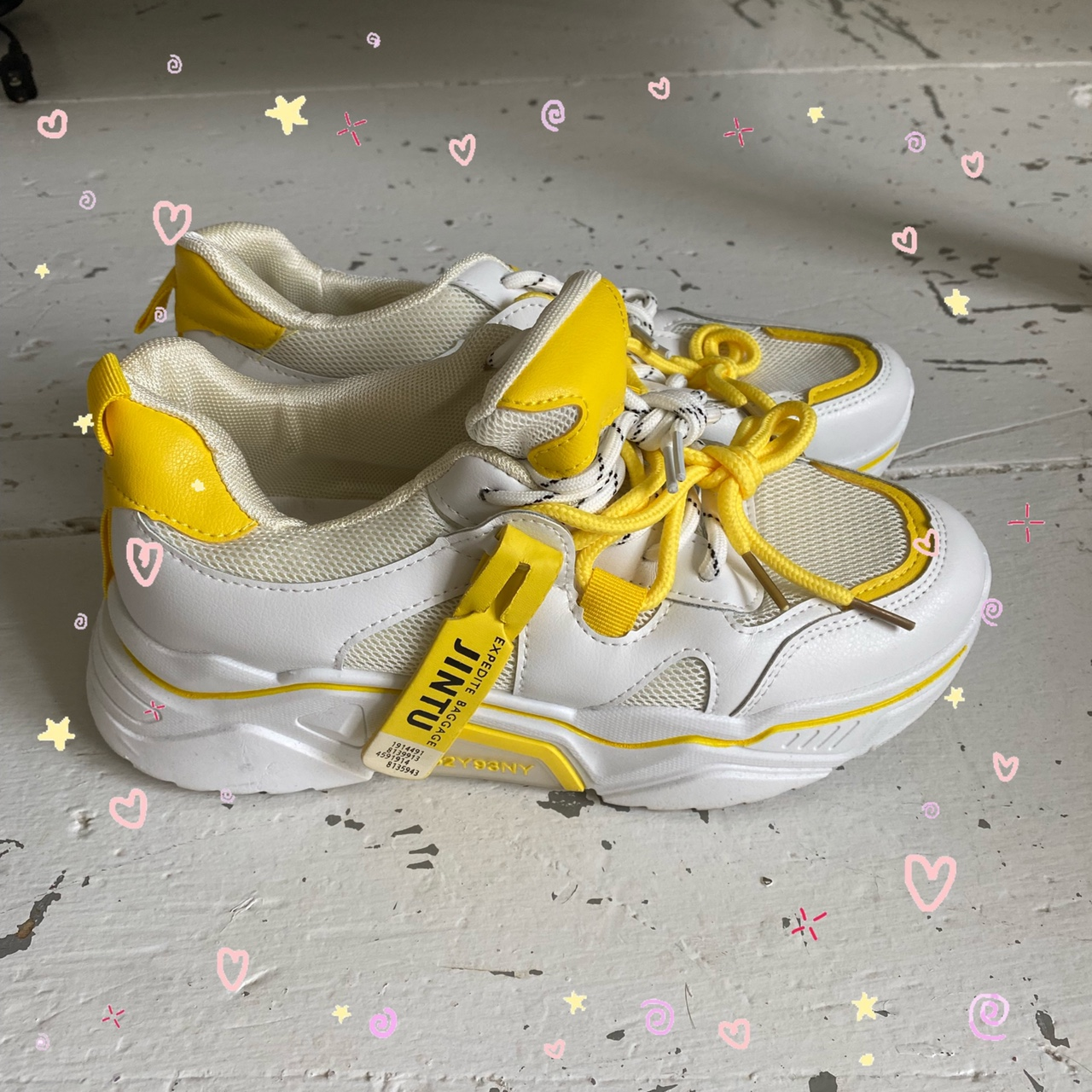 Product Image 1 - ☀️CHUNKY YELLOW AND WHITE SNEAKERS☀️  ▪️Only