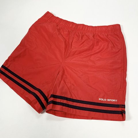 70aeaff443 @pvdvtg. last month. Pawtucket, United States. 🔥🔥 Vintage 90's 00's Y2K  Polo Sport Ralph Lauren red black striped embroidered spellout logo swim  trunks ...