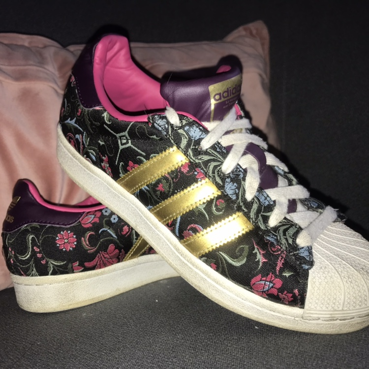 Adidas Superstar Floral Trainers. Size 3.5. Couple... - Depop
