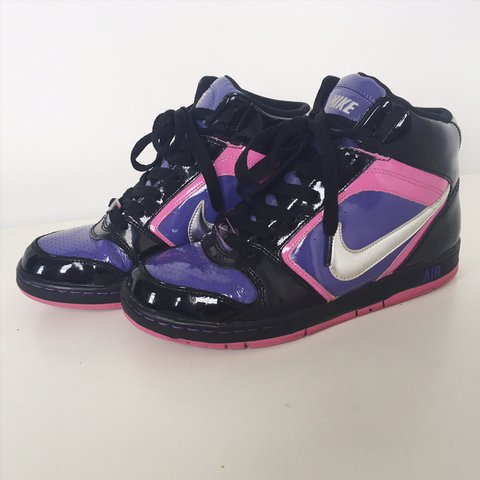 quality design 2f9dc 2e814 Nike Air hi tops black purple pink 8.5 Super dope and SHINY - Depop
