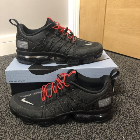 52363a5d98 @ben1111. yesterday. Newport Pagnell, United Kingdom. Nike air vapormax  utility. Black Red lock laces