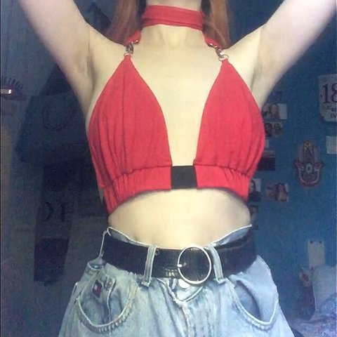 39023a4a755 Selling this red buckle bralet, it has a buckle strap on the - Depop