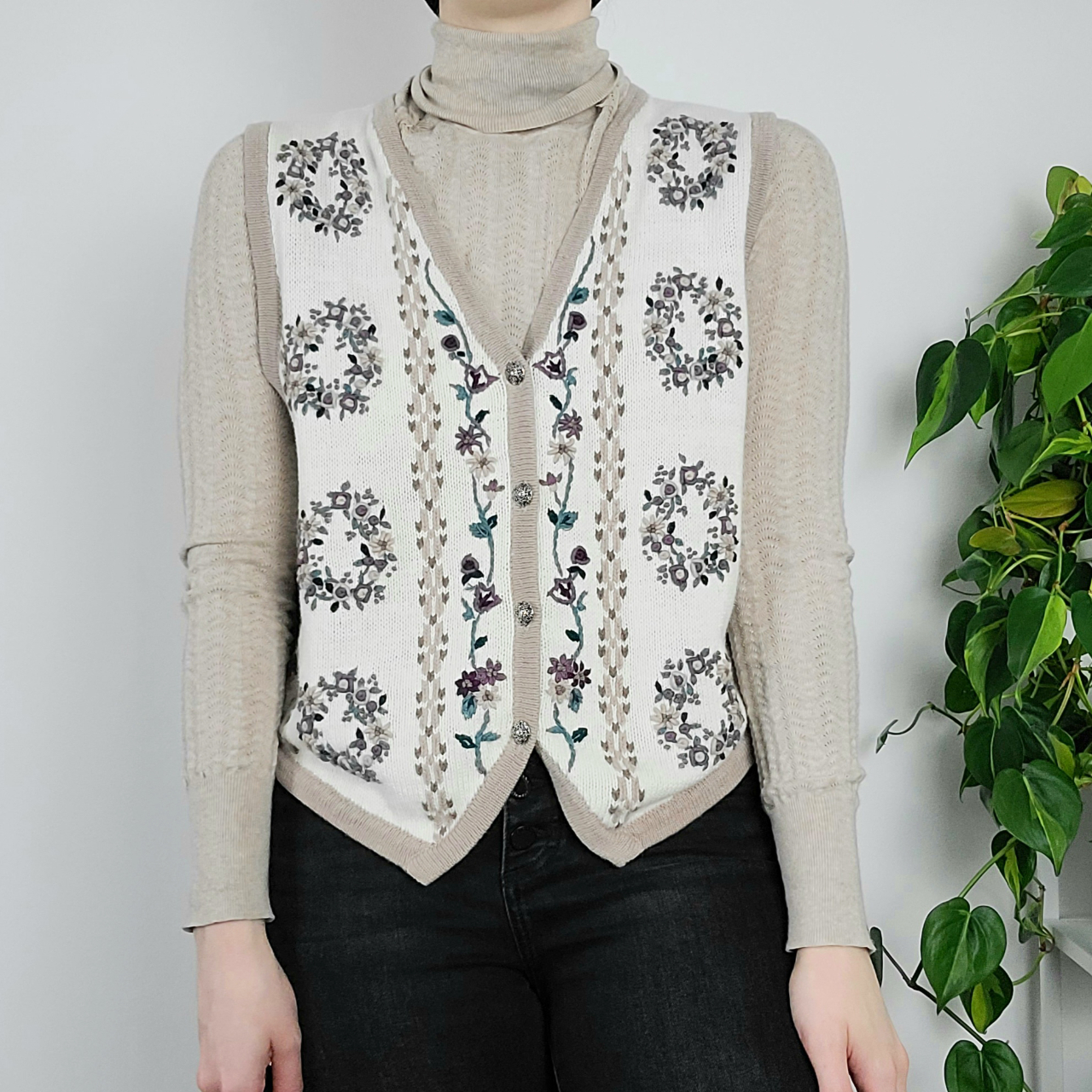 Product Image 1 - Vintage Hand Embroidered Floral Sweater