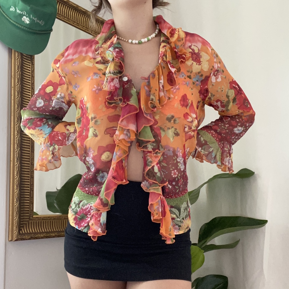 Product Image 1 - INSANE floral sheer silk top!!🍑🍓 Reminds