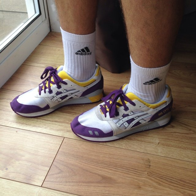 asics gel lyte iii white purple yellow