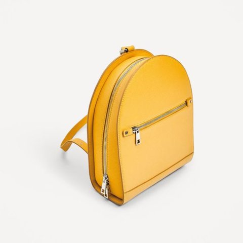 ed0ffcf3d1d Zara Yellow Backpack, faux-leather, great condition. - Depop
