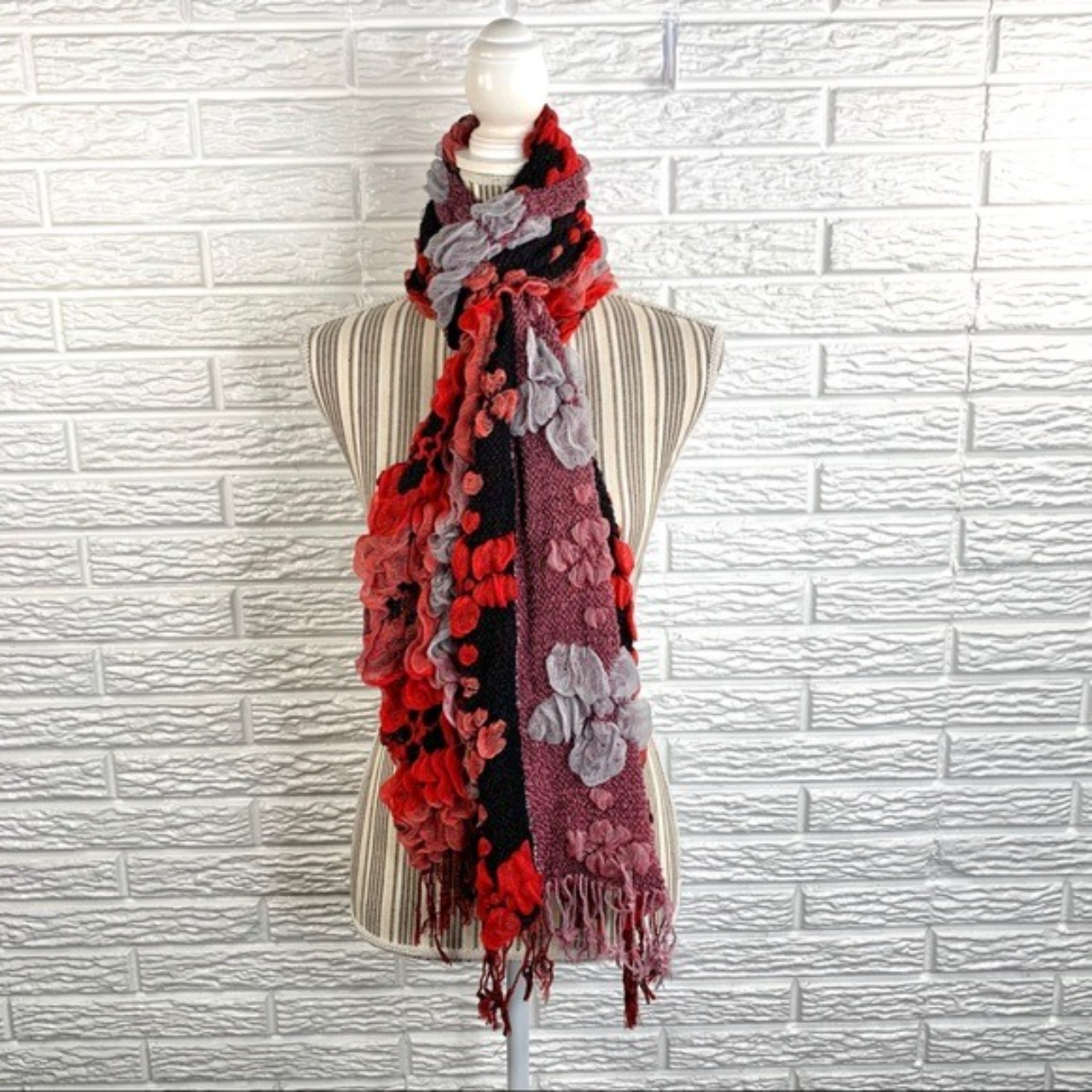 Product Image 1 - Ruffled floral scarf. Red, black,