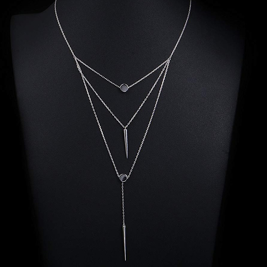 Product Image 1 - Sterling Silver Dangle Layered Necklace