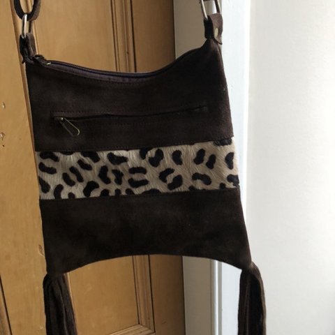 b1ecf3b4813f Suede and pony hair bag, zebra print on one side and leopard - Depop