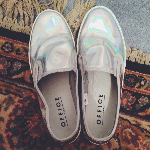 office size 5 holographic slip on g harwood depop