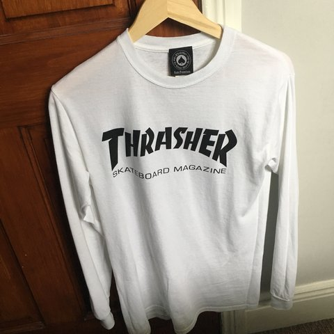 a7b8c41d7d1a @caoimhin_wg. 2 days ago. Londonderry, United Kingdom. Thrasher white long  sleeve T-shirt in size small.