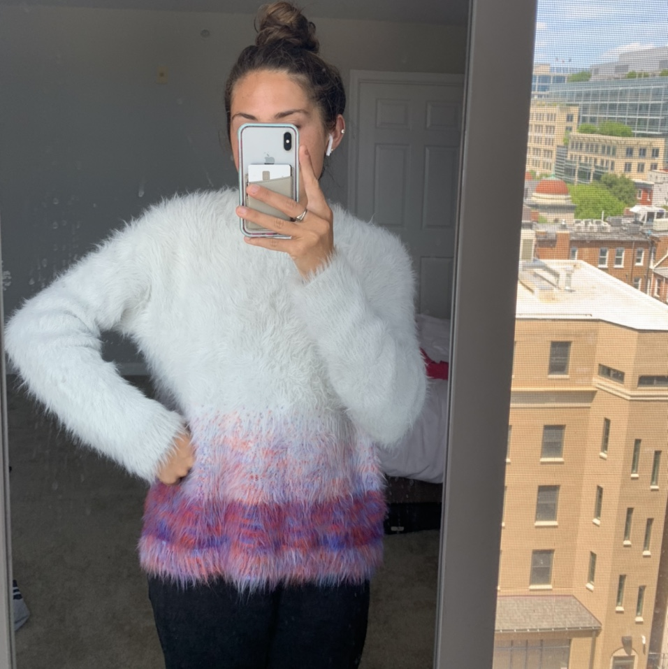 Product Image 1 - Fuzzy grey and multicolor sweater