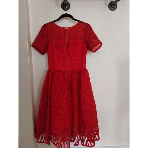 67b1c04c7b34 ASOS Chi Chi London red lace and tulle cocktail dress Great - Depop