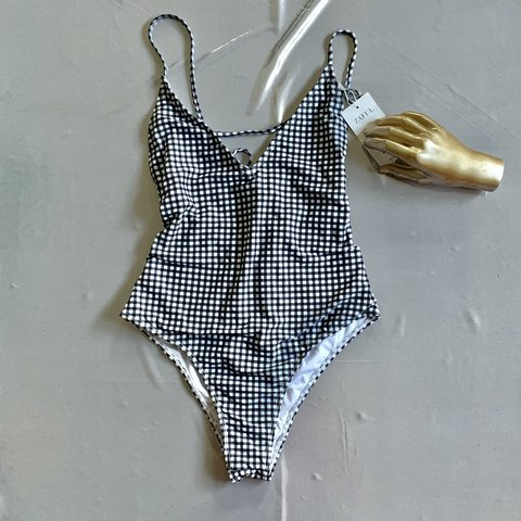 26a290b50d9 @shlllook. last month. St. Augustine, United States. Black and White  Gingham One Piece Bathing Suit 👙