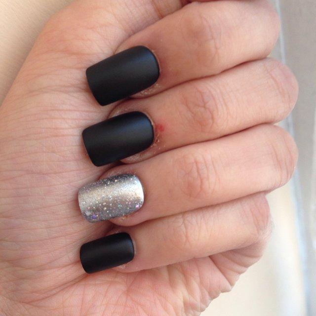 Matte Black And Silver Nails Matte Black And Silver