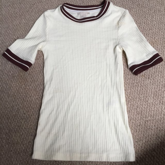 Cream thick cotton t shirt with burgundy marnie for Thick white cotton t shirt