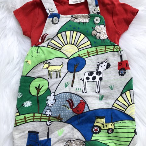 c10b73a477eb Next baby romper dungarees in cute farm design. Size 0-3 boy - Depop