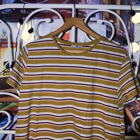 38095487ac @francescaxdc. yesterday. Maidenhead, United Kingdom. cute yellow white red  and blue striped oversized tee shirt ...
