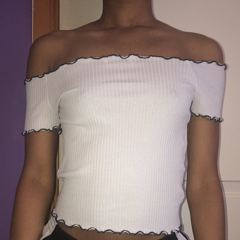efef770020d @kristasara. in 22 hours. Cheverly, United States. Zara Off the Shoulder  White Top w/ Blue ...