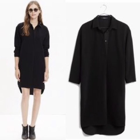 220917ca050 @brianismydarling. 19 days ago. Philadelphia, United States. Madewell long  sleeve black shirt dress.