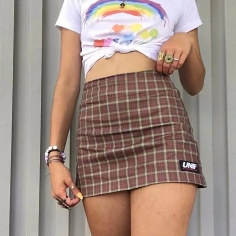 70ea290844a43 @mollycatalinaa. last month. Cardiff, United Kingdom. cutest y2k UNIF brown  checkered mini skirt