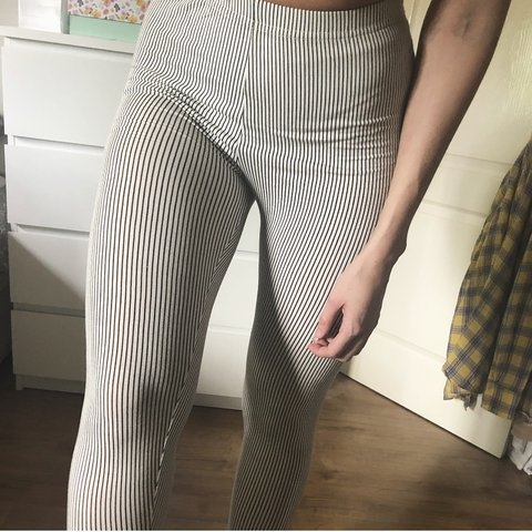 619cc9b1d1 Cream/black stripe leggings. The material is thin and they a - Depop
