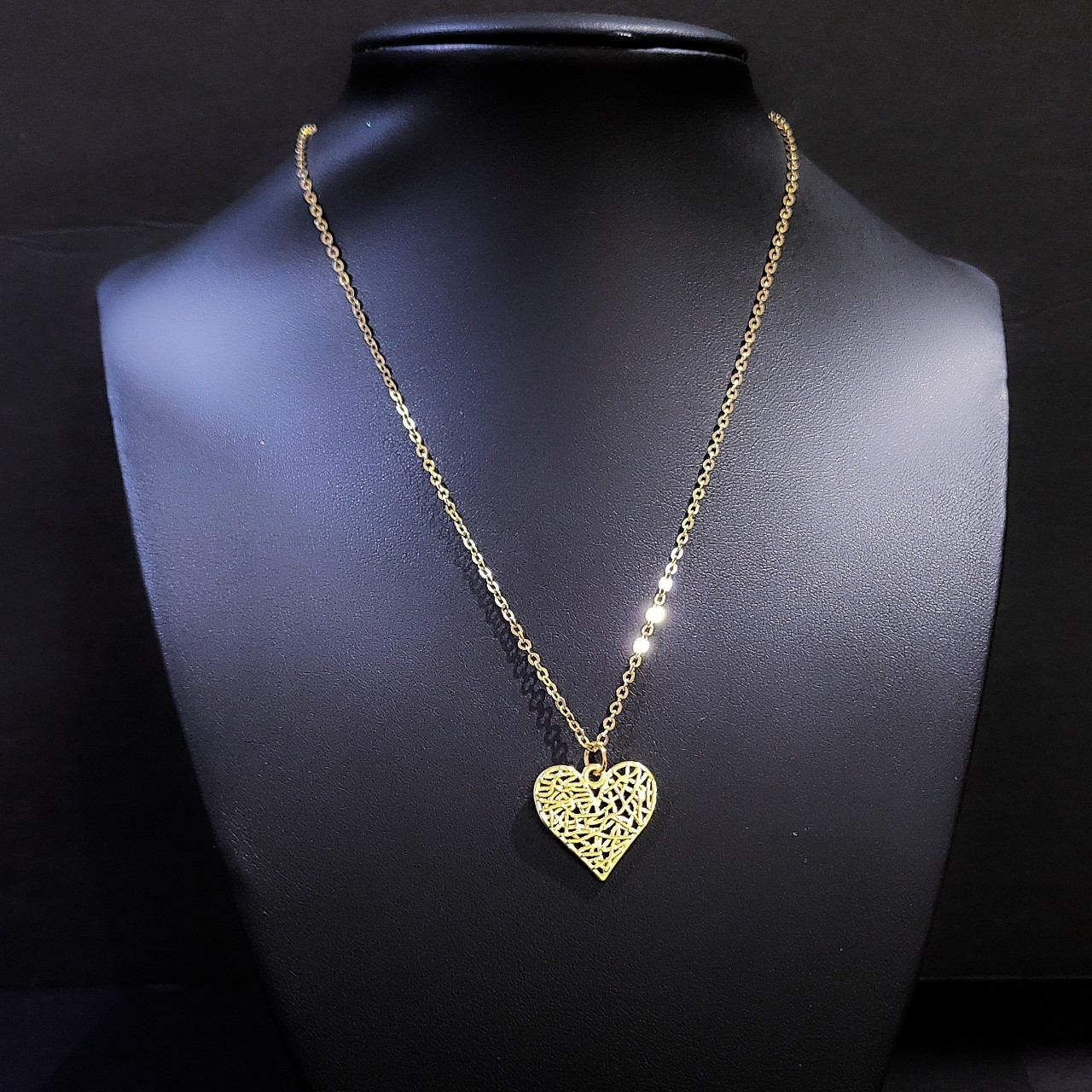 """Product Image 1 - 16"""" Gold Heart Necklace  ...  Gold-tone"""