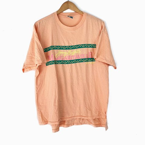 2b65d3f8 Vintage 80s Jimmy Buffett Margaritaville Key West Peach Pink - Depop