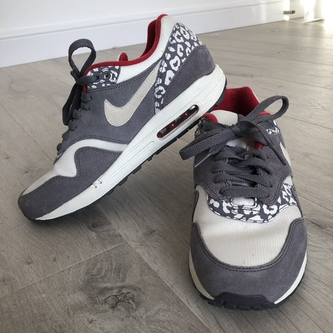 1615a63757a7 Nike Air Max 1 one white and grey leopard print trainers red - Depop