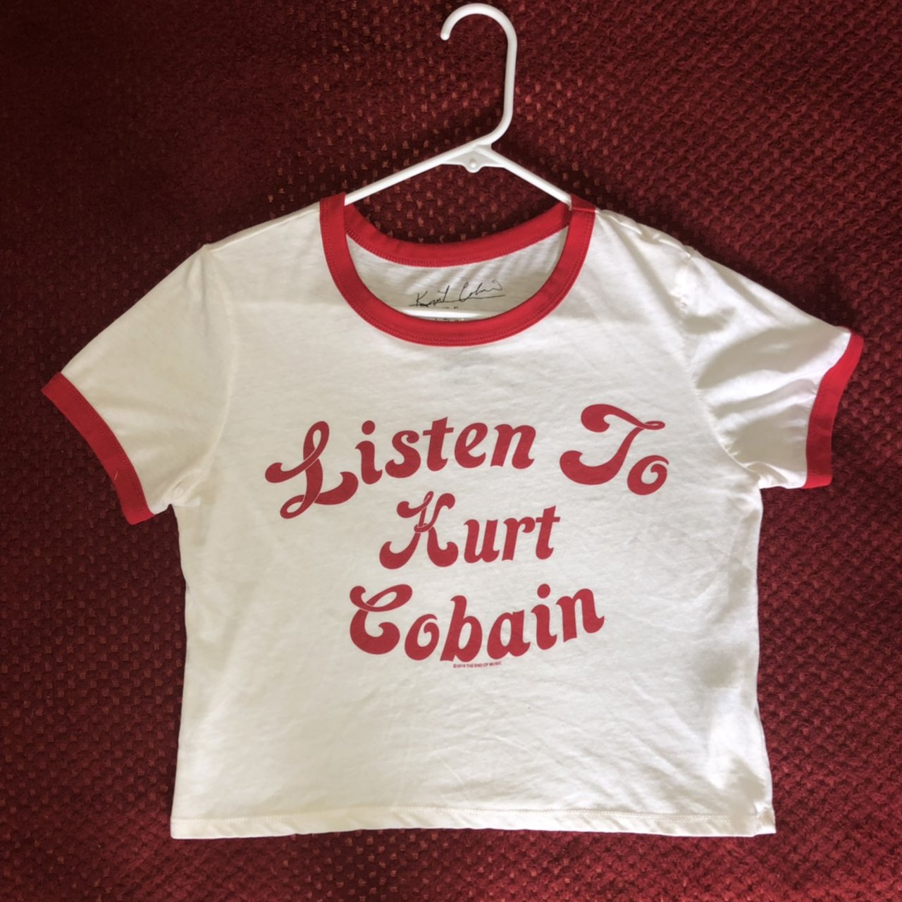 "2dfdc38e94 Red and White Ringer crop top T-shirt that reads ""Listen to - Depop"