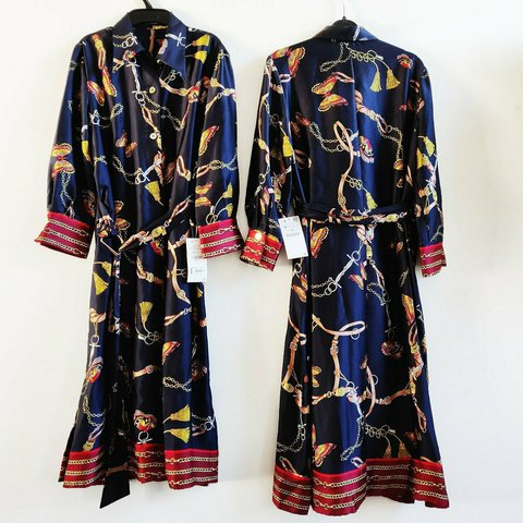 1c6ab47a @neverendingstory2017. 1 hour ago. West Midlands, United Kingdom. Zara scarf  chain butterfly print shirt dress floral printed silky patchwork dress