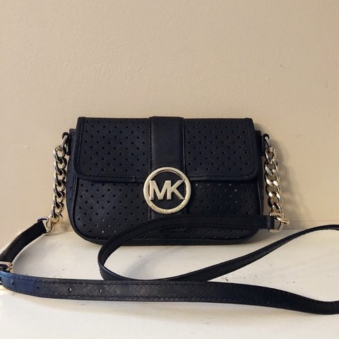 da42382cc4e5 @shopaged. 22 hours ago. Los Angeles, United States. Small Black Michael  Kors Crossbody bag with gold hardware.