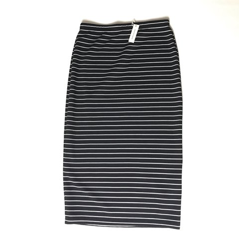 51a8a0ab0f Small, new with tags, black and white striped pencil skirt - Depop