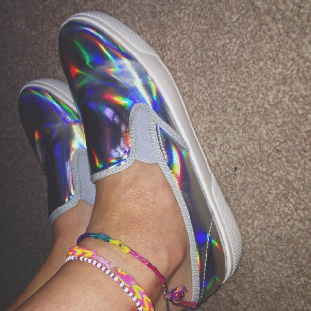 shiny holographic slip on shoes from sharpe depop