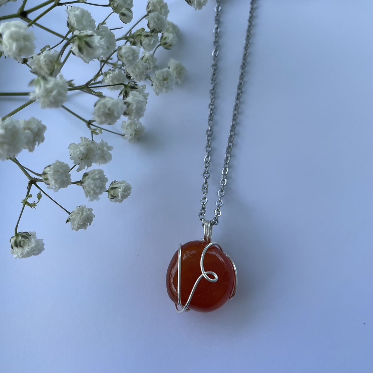 Product Image 1 - carnelian wire wrapped necklace 🍊