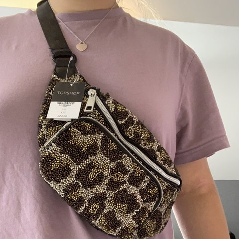 e6c46ad5f191 Topshop beaded leopard print bum bag - Brand new with tags - Depop